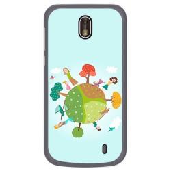 Funda Gel Tpu para Nokia 1 Diseño Familia Dibujos