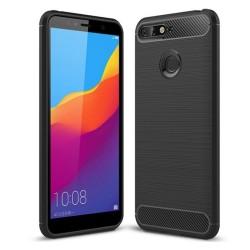 Funda Gel Tpu Tipo Carbon Negra para Huawei Honor 7A / Y6 2018