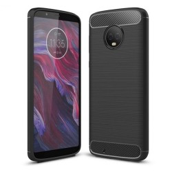 Funda Gel Tpu Tipo Carbon Negra para Motorola Moto G6