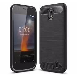 Funda Gel Tpu Tipo Carbon Negra para Nokia 1