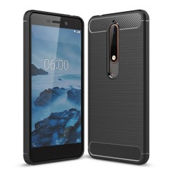 Funda Gel Tpu Tipo Carbon Negra para Nokia 6.1 (2018)