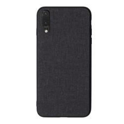 Funda Gel Tpu Efecto Tela Color Negra para Huawei P20