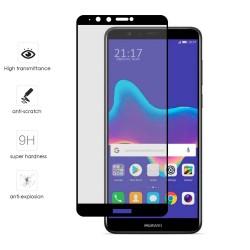 Protector Cristal Templado Frontal Completo Negro para Huawei Y9 2018 Vidrio