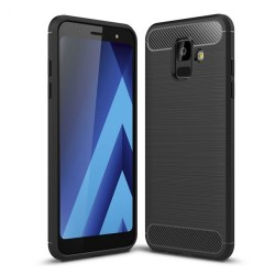 Funda Gel Tpu Tipo Carbon Negra para Samsung Galaxy A6 (2018)