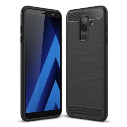 Funda Gel Tpu Tipo Carbon Negra para Samsung Galaxy A6 Plus (2018)