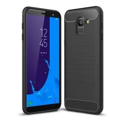Funda Gel Tpu Tipo Carbon Negra para Samsung Galaxy J6 (2018)