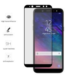 Protector Cristal Templado Frontal Completo Negro para Samsung Galaxy A6 (2018) Vidrio