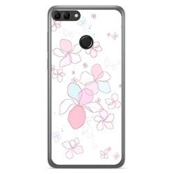 Funda Gel Tpu para Huawei Y9 2018 Diseño Flores Minimal Dibujos
