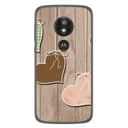 Funda Gel Tpu para Motorola Moto E5 / G6 Play Diseño Corazones Madera Dibujos