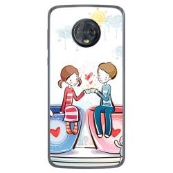 Funda Gel Tpu para Motorola Moto G6 Plus Diseño Cafe Dibujos