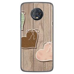 Funda Gel Tpu para Motorola Moto G6 Plus Diseño Corazones Madera Dibujos