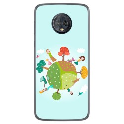 Funda Gel Tpu para Motorola Moto G6 Plus Diseño Familia Dibujos