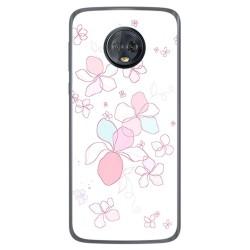 Funda Gel Tpu para Motorola Moto G6 Plus Diseño Flores Minimal Dibujos