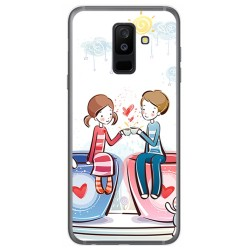 Funda Gel Tpu para Samsung Galaxy A6 Plus (2018) Diseño Cafe Dibujos