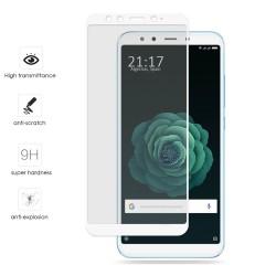 Protector Cristal Templado Frontal Completo Blanco para Xiaomi Mi 6X / Mi A2 Vidrio