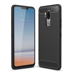 Funda Gel Tpu Tipo Carbon Negra para Lg G7 Thinq