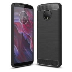 Funda Gel Tpu Tipo Carbon Negra para Motorola Moto G6 Plus