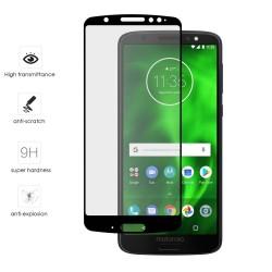 Protector Cristal Templado Frontal Completo Negro para Motorola Moto G6 Vidrio
