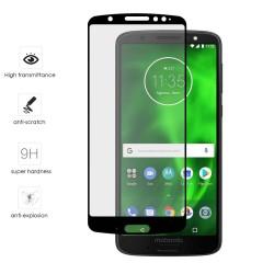 Protector Cristal Templado Frontal Completo Negro para Motorola Moto G6 Plus Vidrio