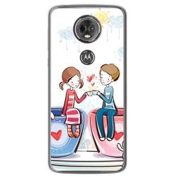 Funda Gel Tpu para Motorola Moto E5 Plus Diseño Cafe Dibujos