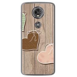 Funda Gel Tpu para Motorola Moto E5 Plus Diseño Corazones Madera Dibujos