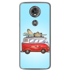 Funda Gel Tpu para Motorola Moto E5 Plus Diseño Furgoneta Dibujos