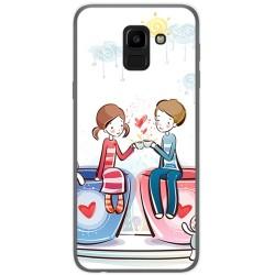 Funda Gel Tpu para Samsung Galaxy J6 (2018) Diseño Cafe Dibujos