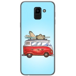 Funda Gel Tpu para Samsung Galaxy J6 (2018) Diseño Furgoneta Dibujos