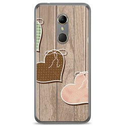 Funda Gel Tpu para Vodafone Smart N9 Diseño Corazones Madera Dibujos