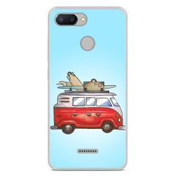 Funda Gel Tpu para Xiaomi Redmi 6 Diseño Furgoneta Dibujos