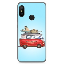 Funda Gel Tpu para Xiaomi Redmi 6 Pro / Mi A2 Lite Diseño Furgoneta Dibujos