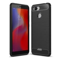 Funda Gel Tpu Tipo Carbon Negra para Xiaomi Redmi 6