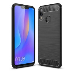 Funda Gel Tpu Tipo Carbon Negra para Huawei P Smart Plus