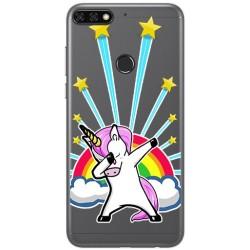 Funda Gel Transparente para Huawei Honor 7C / Y7 2018 Diseño Unicornio Dibujos