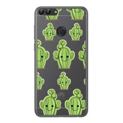 Funda Gel Transparente para Huawei P Smart Diseño Cactus Dibujos