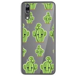 Funda Gel Transparente para Huawei P20 Diseño Cactus Dibujos