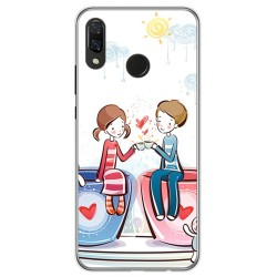 Funda Gel Tpu para Huawei P Smart Plus Diseño Cafe Dibujos