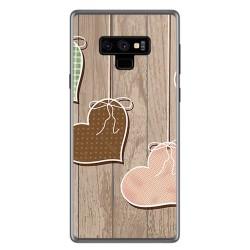 Funda Gel Tpu para Samsung Galaxy Note 9 Diseño Corazones Madera Dibujos