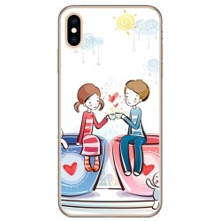 Funda Gel Tpu para Iphone XS Max Diseño Cafe Dibujos