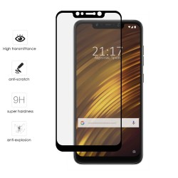 Protector Cristal Templado Frontal Completo Negro para Xiaomi Pocophone F1 Vidrio