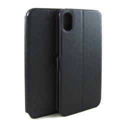Funda Soporte Piel Negra para Iphone XR Flip Libro