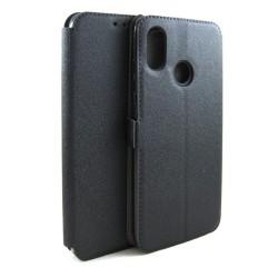 Funda Soporte Piel Negra para Xiaomi Mi 8 Flip Libro