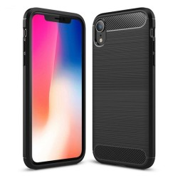 Funda Gel Tpu Tipo Carbon Negra para Iphone Xr