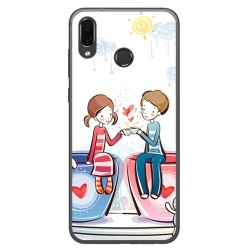 Funda Gel Tpu para Huawei Honor Play Diseño Cafe Dibujos