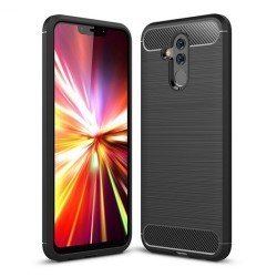 Funda Gel Tpu Tipo Carbon Negra para Huawei Mate 20 Lite