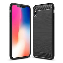 Funda Gel Tpu Tipo Carbon Negra para Iphone XS Max