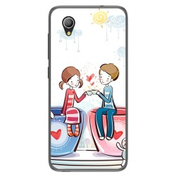 Funda Gel Tpu para Alcatel 1 / Orange Rise 54 / Vodafone Smart E9 Diseño Cafe Dibujos