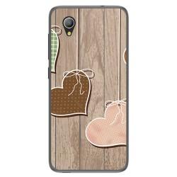 Funda Gel Tpu para Alcatel 1 / Orange Rise 54 / Vodafone Smart E9 Diseño Corazones Madera Dibujos