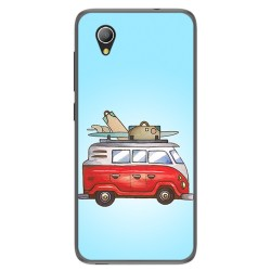 Funda Gel Tpu para Alcatel 1 / Orange Rise 54 / Vodafone Smart E9 Diseño Furgoneta Dibujos