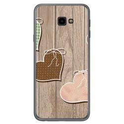 Funda Gel Tpu para Samsung Galaxy J4+ Plus Diseño Corazones Madera Dibujos